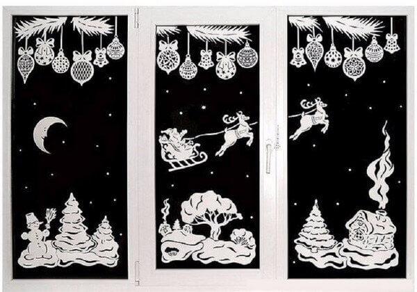 рождественский сюжет на стекле