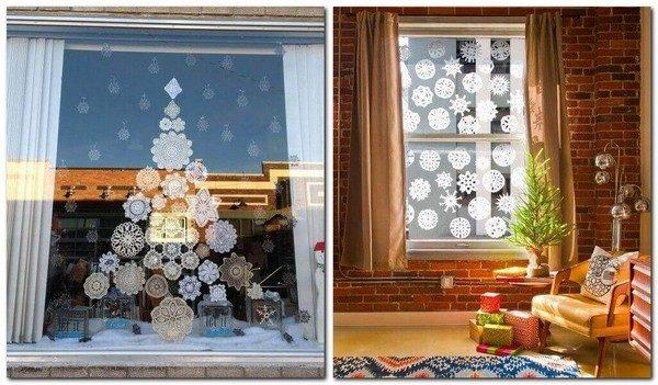 украшаемокна бумажными снежинками