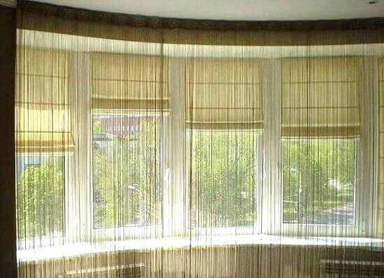 рулонные шторы в паре с тюлем