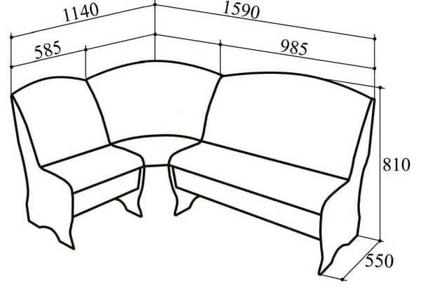 чертеж простого углового дивана