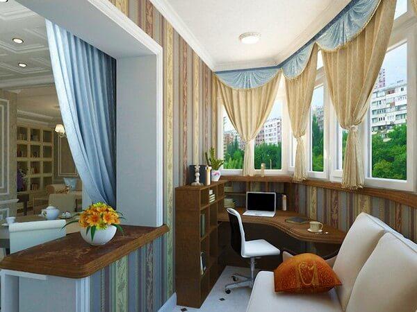 Дизайн совмещенного с комнатой балкона