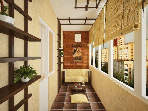 бамбуковые шторы для балкона в японском стиле