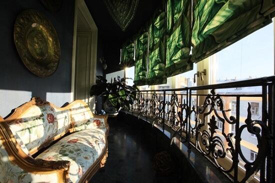 Интерьер балкона в классическом стиле