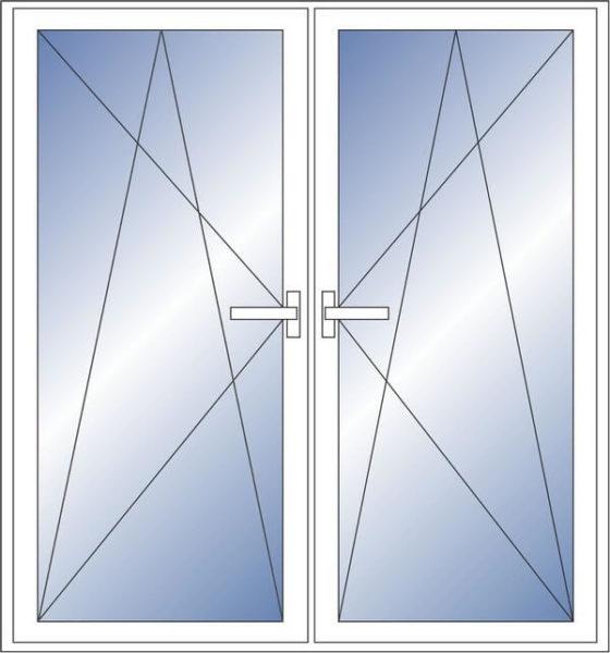 вухстворчатая импостная дверь