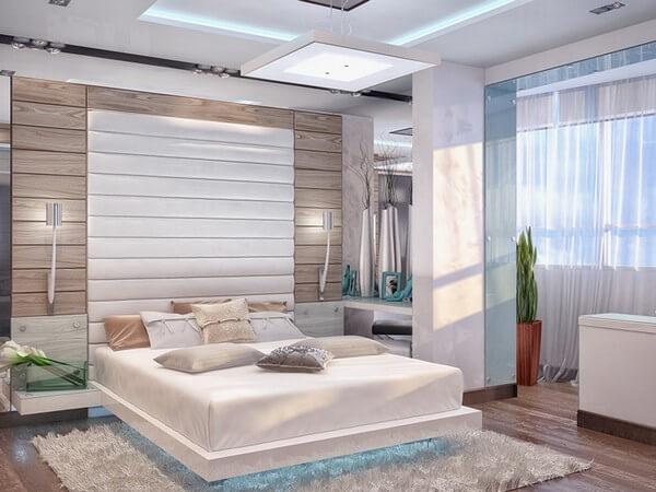 Объединение спальни с балконом в современном стиле