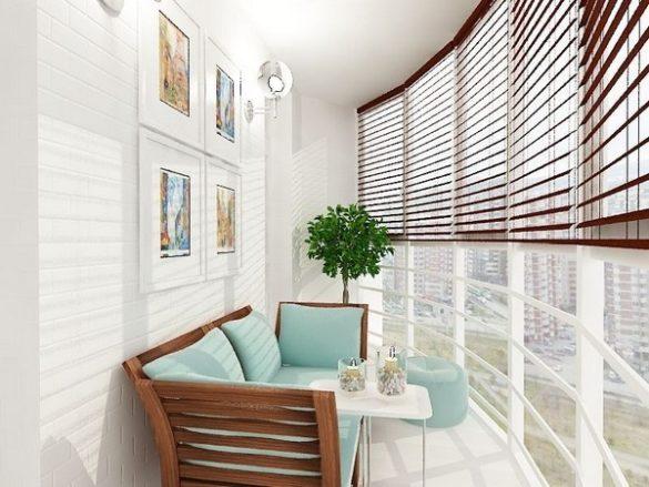 Отделка и дизайн интерьера полукруглого балкона в квартире и частном доме