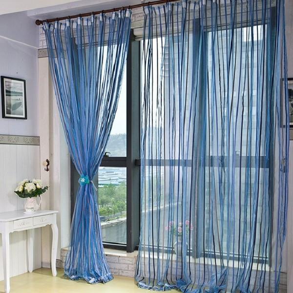 синие шторы