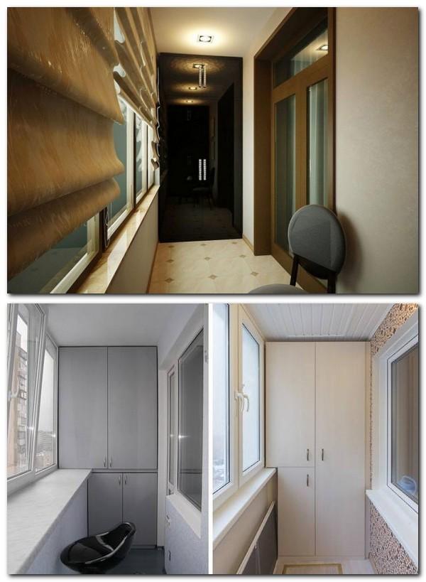 шкафы в интерьере балкона