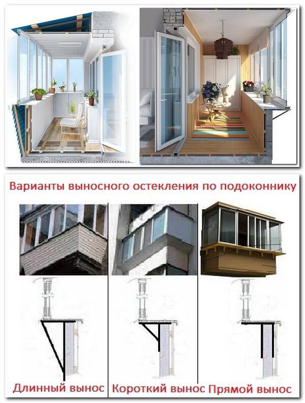 варианты выносного остекления балкона по подоконнику