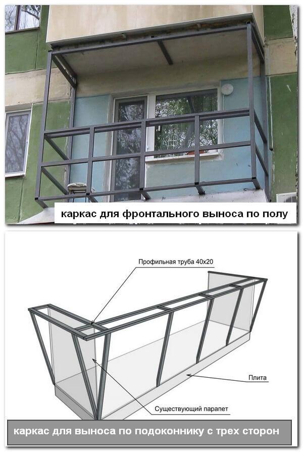 металлический каркас для выносного балкона