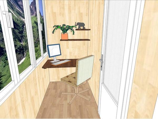 стационарный стол на балконе
